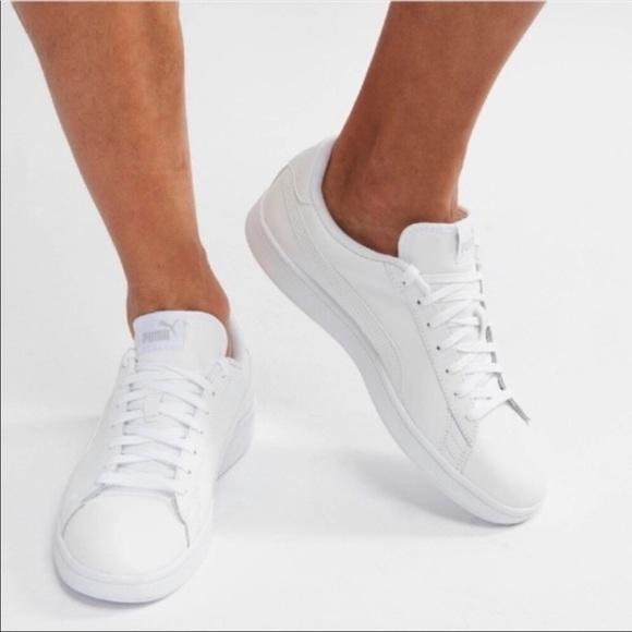 EUC PUMA Smash V2 Leather white shoes sneakers 12
